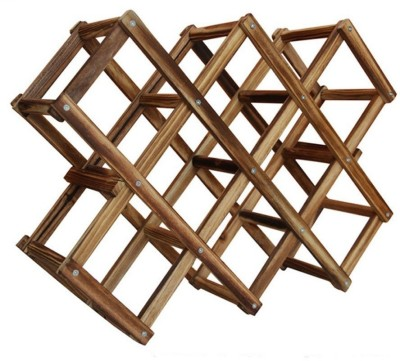 HOKIPO Bamboo Wine Rack(Brown, 10 Bottles)