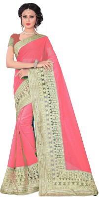 M.S.Retail Embroidered Bollywood Chiffon, Net Saree(Pink, Gold)