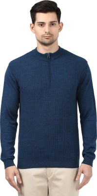 Park Avenue Self Design Round Neck Round Neck Casual Men Blue Sweater at flipkart