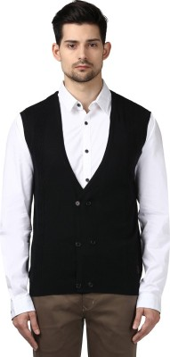 Park Avenue Solid V-neck V-neck Casual Men Black Sweater at flipkart