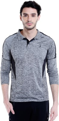 Campus Sutra Solid Men Polo Neck Grey T-Shirt at flipkart