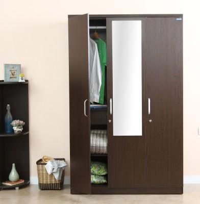 Spacewood Weave Engineered Wood 3 Door Wardrobe(Finish Color - Vermount, Mirror Included)