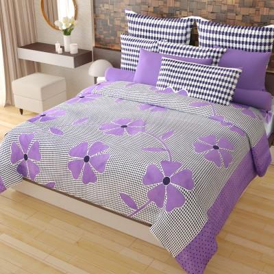 Home Candy Cotton Floral Double Bedsheet(1 Double Bedsheet, 2 Pillow Covers, Purple) at flipkart