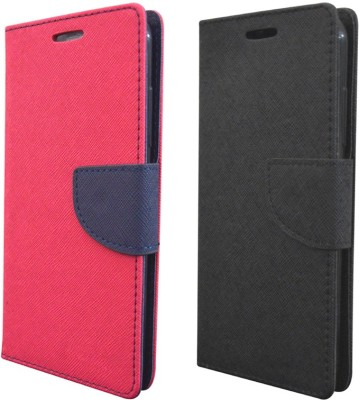 COVERBLACK Flip Cover for Lenovo Vibe P1 Turbo(Pink, Black, Artificial Leather, Rubber)
