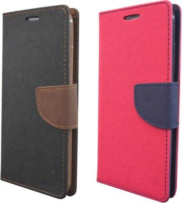 Coverage Flip Cover for Micromax Canvas Nitro A311, Micromax Canvas Nitro A310(Black Brown, Pink, Artificial Leather, Rubber)
