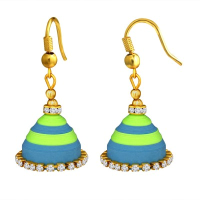 Spargz Indian Traditional Wedding AD Stone Lightweight Handmade Quilling Paper Earrings Jhumka For Women Diamond Alloy Jhumki Earring  available at flipkart for Rs.299