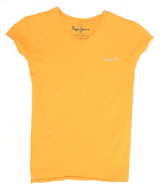 Pepe Jeans Girls Solid Cotton T Shirt(Yellow, Pack of 1)  available at flipkart for Rs.249
