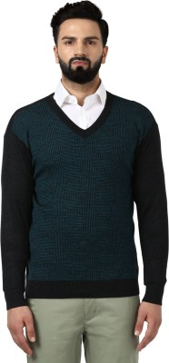 Raymond Geometric Print V-neck V-neck Casual Men Black Sweater at flipkart