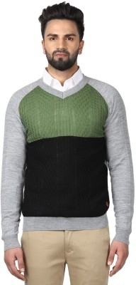 Raymond Striped V-neck V-neck Casual Men Green Sweater at flipkart