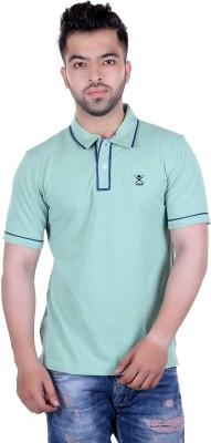 HARBOR N BAY Self Design Men's Polo Neck Green T-Shirt