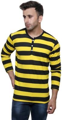 Alan Jones Striped Men Henley Dark Blue, Yellow T-Shirt