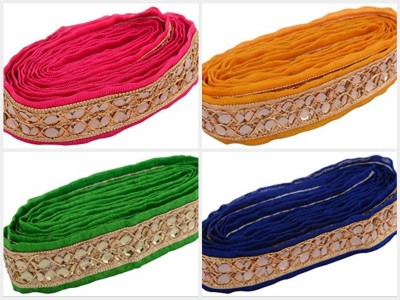 GOELX AM Fabric Fashion Zari-kundan Laces for dress/sarees/blouses,suits,caps/bags/decorations/ borders, crafts, any many more.. in 4 different colors combo, pack of 4 meters  available at flipkart for Rs.599