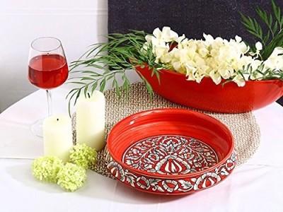 caffeine Decorative Bowl 10 Inch in Red Mughal Handmade Ceramic Decorative Bowl(Red, Pack of 1)
