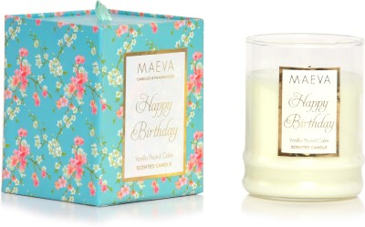 MAEVA BIRTHDAY GLASS VOTIVE SCENTED CANDLE IN A GIFT BOX Candle(Beige, Pack of 1)