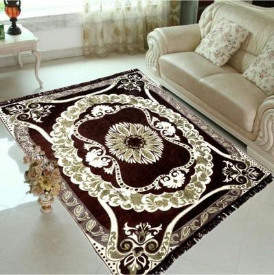 JUSTWAY Brown Chenille Carpet(154 cm X 214 cm)