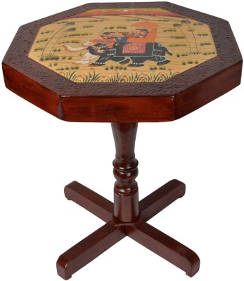 Lal Haveli Hand-Painted Telephone / Corner Stool Solid Wood Bedside Table(Finish Color - Brown)