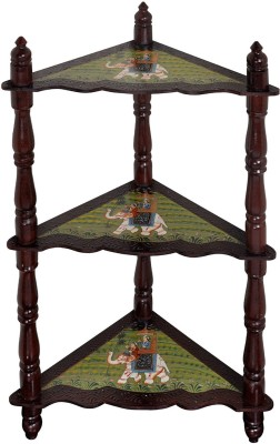 Lal Haveli Hand-Painted 3 Tier Shelf Solid Wood Corner Table(Finish Color - Glossy)
