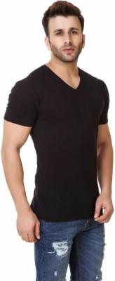 izzard Solid Men's V-neck Black T-Shirt