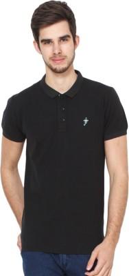 Mochites Solid Men Polo Neck Black T-Shirt