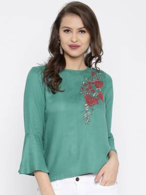 Rare Casual Bell Sleeve Embroidered Women Green Top