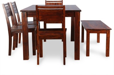 HomeTown Trelis Solid Wood 6 Seater Dining Set(Finish Color - Honey)