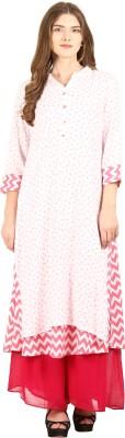La Firangi Women Polka Print, Chevron/Zig Zag A-line Kurta(White, Pink)
