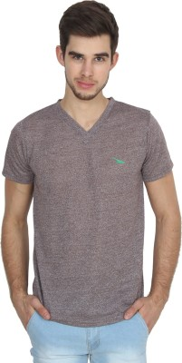 PRO Lapes Solid Men V-neck Brown T-Shirt  available at flipkart for Rs.197
