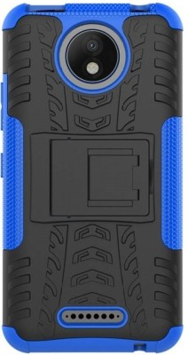 GadgetM Back Cover for Motorola Moto C Plus(Blue, Black, Grip Case, Rubber, Plastic)