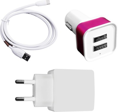 DAKRON Wall Charger Accessory Combo for All mobiles phones White