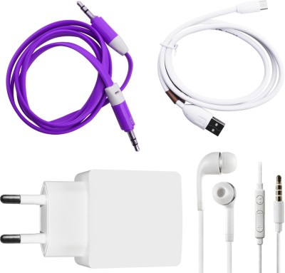 DAKRON Wall Charger Accessory Combo for Xiaomi Redmi Note 3 White DAKRON Mobiles Accessories Combos