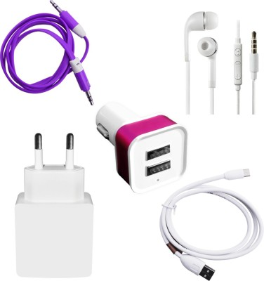 DAKRON Wall Charger Accessory Combo for Micromax Canvas Juice 4 White DAKRON Mobiles Accessories Combos