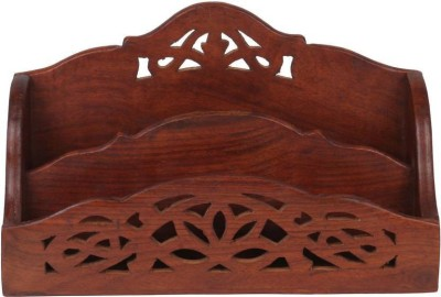 ikashan 2 Compartments wood Wooden Handmade Letter / Paper/ Mobile / Visiting Cards Holder/Stand(Brown)