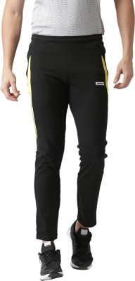 2GO Solid Men Black Track Pants at flipkart