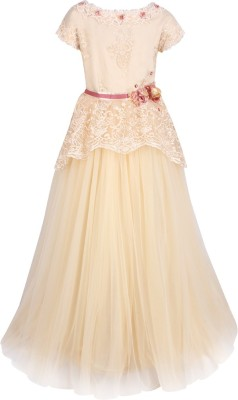Cutecumber Girls Maxi/Full Length Party Dress(Beige, Cap Sleeve) at flipkart