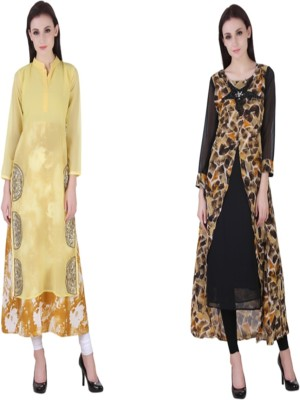 VF FASHIONS Festive & Party Printed Women Kurti(Pack of 2, Multicolor)