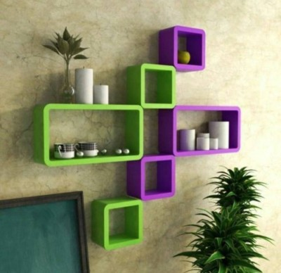 Masterwood squre cub MDF Wall Shelf(Number of Shelves - 6, Green, Purple)