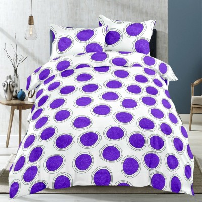 Supreme Home Collective Cotton Polka Double Bedsheet(1 bedsheet with 2 pillow cover, Purple)