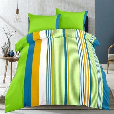 Supreme Home Collective Cotton Striped Double Bedsheet(1 bedsheet with 2 pillow cover, Green)