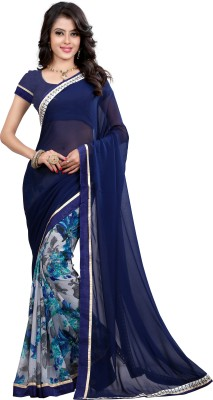 Dreambucket Floral Print Bollywood Georgette Saree(Blue)