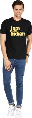 Yuvi Printed Men Round Neck Black T-Shirt