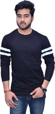 Himgiri International Solid Men Round Neck White, Black T-Shirt