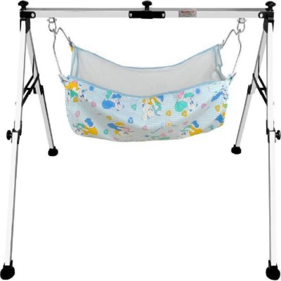westturn Fully Folding Stainless Steel Ghodiyu (Baby Cradle) with Cotton Hammock (Silver)(Black)  available at flipkart for Rs.1585