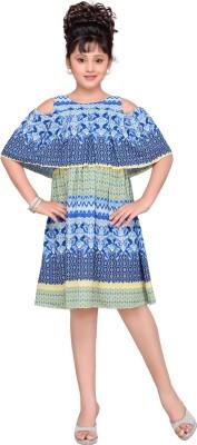 Hunny Bunny Girls Midi/Knee Length Casual Dress(Multicolor, Half Sleeve)