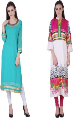 VF FASHIONS Festive & Party Solid Women Kurti(Pack of 2, Multicolor)