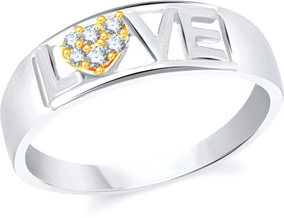 VK Jewels Love Alloy Cubic Zirconia 18K Yellow Gold Plated Ring
