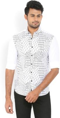 Locomotive Men's Printed Casual White Shirt