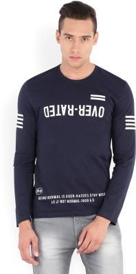 Locomotive Printed Men's Round Neck Dark Blue T-Shirt