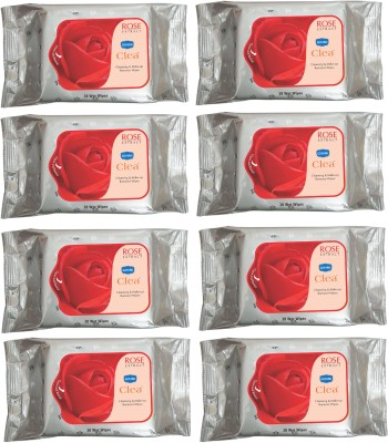 GINNI CLEA Cleansing & Make-up Remover Wet Wipes (Rose) (Pack of 8) (30 Wipes Per Pack)(Pack of 240)