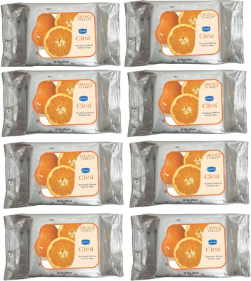 GINNI CLEA Cleansing & Make-up Remover Wet Wipes (Orange) (Pack of 8) (30 Wipes Per Pack)(Pack of 240)