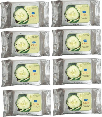 GINNI CLEA Cleansing & Make-up Remover Wet Wipes (Cucumber) (Pack of 8) (30 Wipes Per Pack)(Pack of 240)